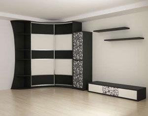 Черно белый угловой шкаф купе